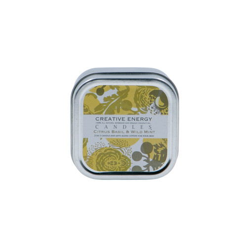 Citrus Basil and Wild Mint 2-in-1 3.5 oz. Tin Lotion Candle by Creative Energy