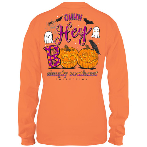 Large Ohhh Hey Boo Long Sleeve Tee by Simply Southern Tees