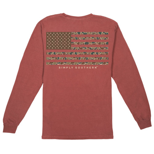 Small Men's Camo Flag Long Sleeve Tee by Simply Southern Tees