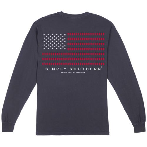 Medium Men's Redcup Flag Long Sleeve Tee by Simply Southern Tees