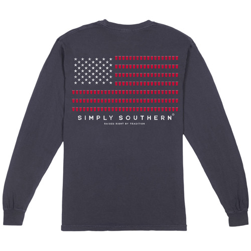X-Large Men's Redcup Flag Long Sleeve Tee by Simply Southern Tees