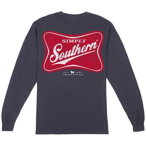 Medium Men's Red Logo Long Sleeve Tee by Simply Southern Tees