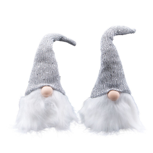 """Holiday Silver 13"""" Gnomes (Set of 2) by Gerson Company"""