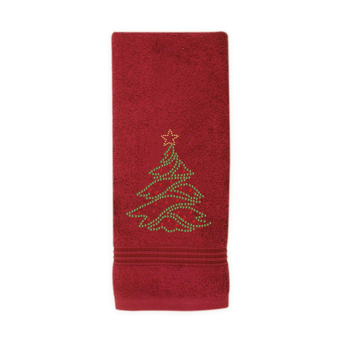 Christmas Tree Hand Towel - Red by Sparkles Home
