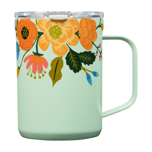 Mug - 16 oz. Rifle Paper Gloss Mint Lively Floral by Corkcicle
