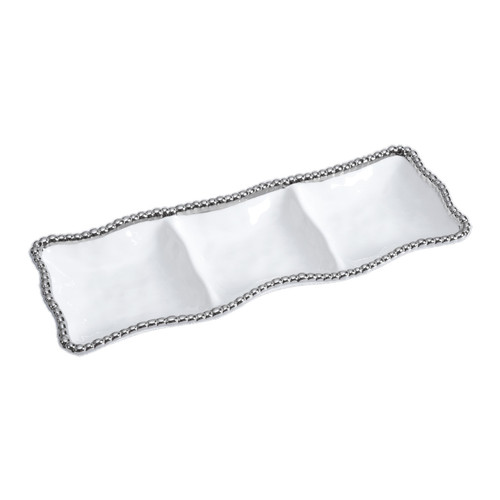 3-Section Serving Piece - White by Pampa Bay