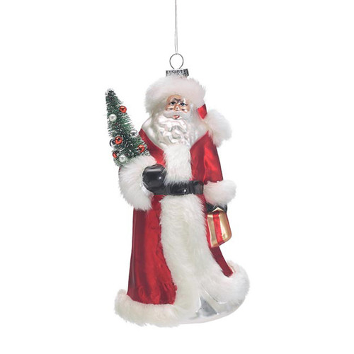 Red Santa With Christmas Tree Ornament