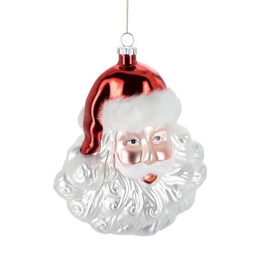 "7"" Glass Cheery Santa Ornament"