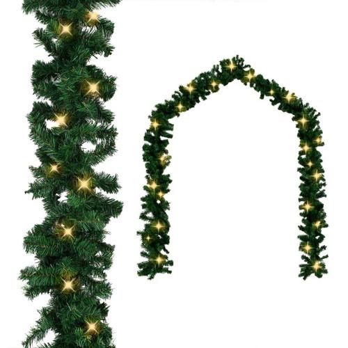 Christmas Garland with LED Lights Green 32.8' PVC
