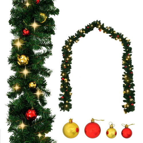 Christmas Garland with Baubles and LED Lights Green 32.8' PVC