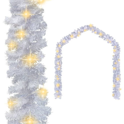 Christmas Garland with LED Lights White 16.4' PVC