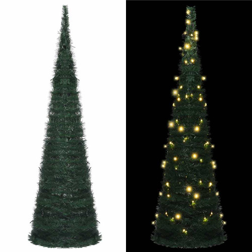 """Pop-up String Artificial Christmas Tree with LED Green 59.1"""""""