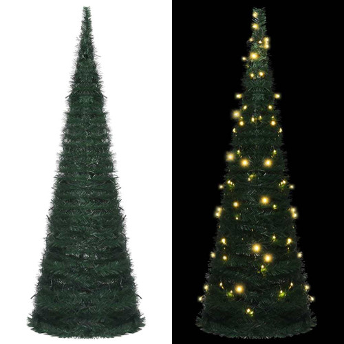 """Pop-up String Artificial Christmas Tree with LED Green 70.9"""""""