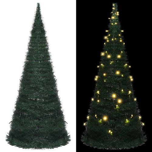 """Pop-up String Artificial Christmas Tree with LED Green 82.7"""""""