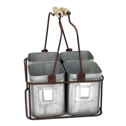 Galvanized Metal Four Tin Storage Organizer with Movable Wooden Handle,Gray
