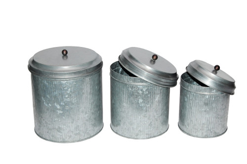 Galvanized Metal Lidded Canister With Ribbed Pattern, Set of Three, Gray