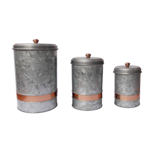 Galvanized Metal Lidded Canister With Copper Band, Set of Three, Gray