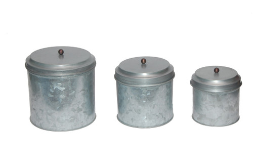 Galvanized Metal Lidded Canister With Ball Knob, Set of Three, Gray