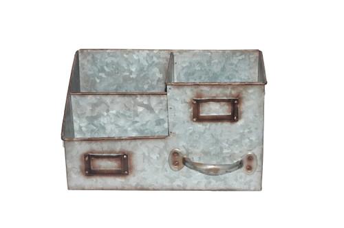 Three Bin Galvanized Metal Desk Organizer with Attached Label Slots, Gray