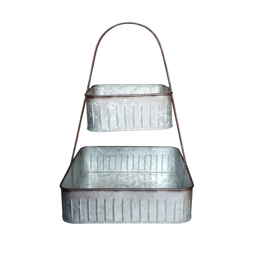2 Tier Square Galvanized Metal Corrugated Tray with Arched Handle, Gray