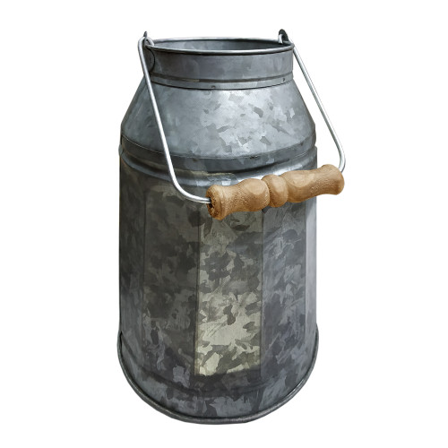 Galvanized Metal Decorative Milk Can with Wooden Handle, Gray and Brown