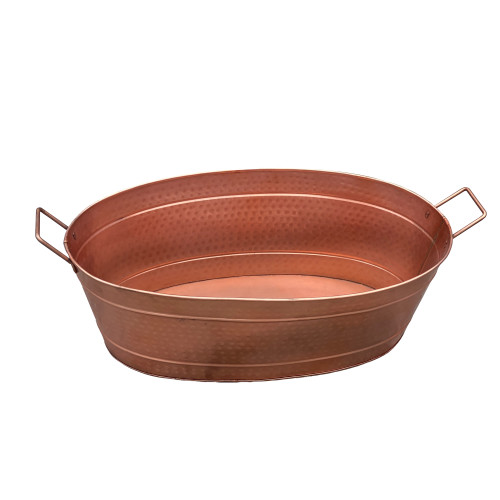 Oval Shape Hammered Pattern Metal Tub with Two Side Handles, Copper