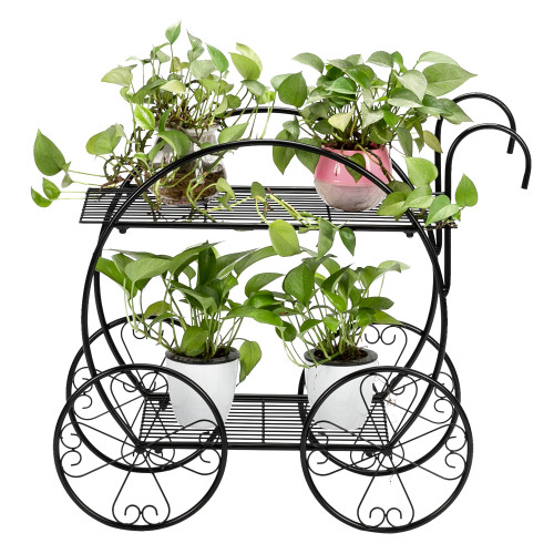Paint With Handle Cart Shape 2 Layer Plant Stand Black