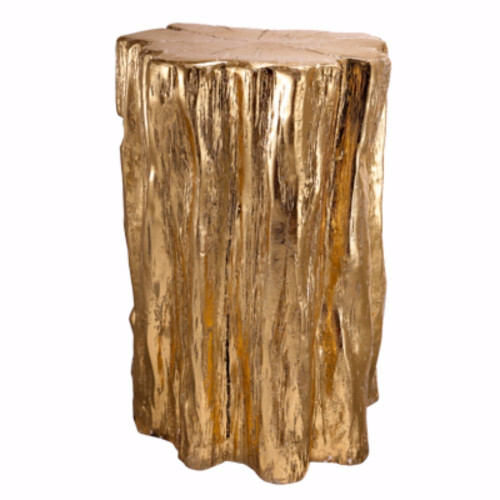 Nature Inspired Tree Trunk Metal Stool, Gold