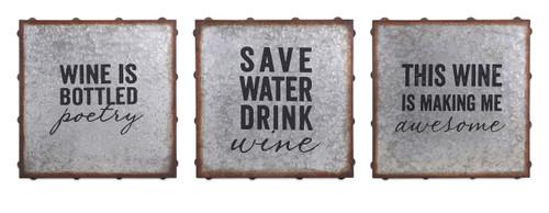 Unique Maxwell Galvanized Wine Wall decor - Assorted 3