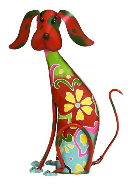 17 Inch Decorative Metal Dog Sculpture, Multicolor