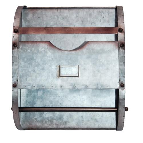 Galvanized Metal Bathroom Caddy with Label Slot, Gray
