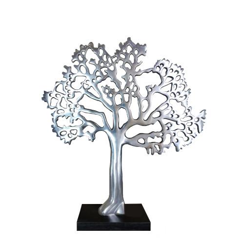 Stylish Aluminum Tree Decor with Block Base, Silver and Black