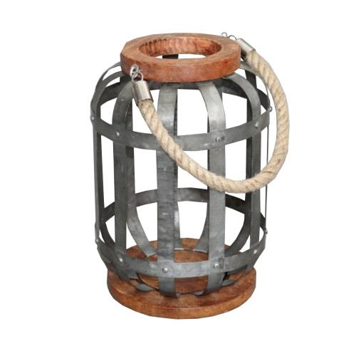 DunaWest Wooden Base Bellied Shape Industrial Hanging Galvanized Lantern with Rope Handle, Gray