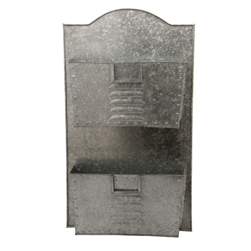 Galvanized Metal Two Tier Wall Pocket Organizer, Gray