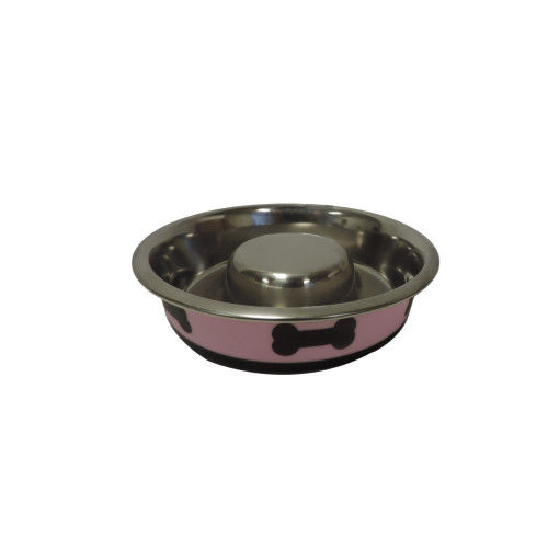 Slow Feeder Spill Proof Pet Bowl with Rubber Base and Bone Design, Pink and Black