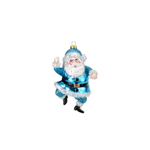 Bright Santa Ornament Blue