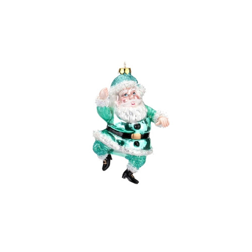 Bright Teal Santa Ornament by One Hundred 80 Degrees