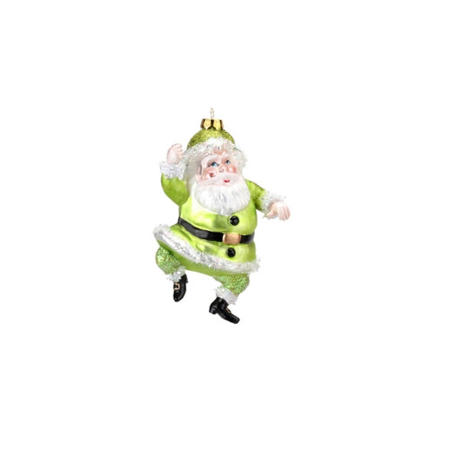 Bright Lime Green Santa Ornament by One Hundred 80 Degrees