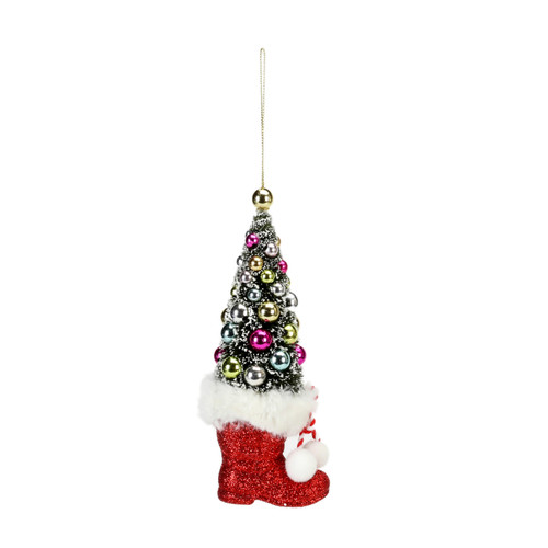 Sisal Tree In Red Boot Ornament by One Hundred 80 Degrees