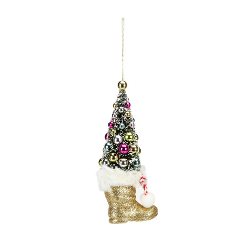 Sisal Tree In Gold Boot Ornament by One Hundred 80 Degrees