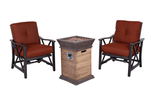 Outdoor Fire Pit 3pcs Set w/Haywood KD Aluminum X Back Stationary Spring Chairs