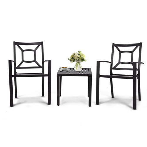 MEOOEM Patio Dining Set  Outdoor Furniture Square Bistro Metal Table Side Table and Metal Stackable Chairs, Black