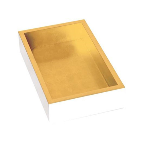 White Lacquer-Gold Napkin Holder for Guest by Design Design