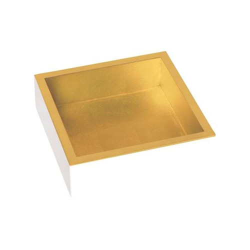 White Lacquer-Gold Napkin Holder for Beverage by Design Design