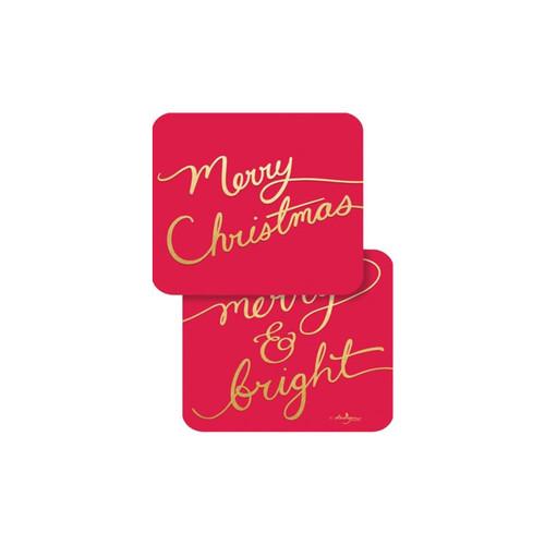 Merry Christmas Script Coaster-Paper by Design Design