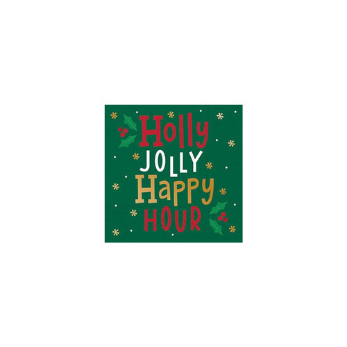 Holly Jolly Happy Hour Napkin-Beverage by Design Design