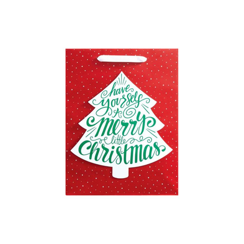 Merry Little Christmas Tree Tote Bag-Medium by Design Design