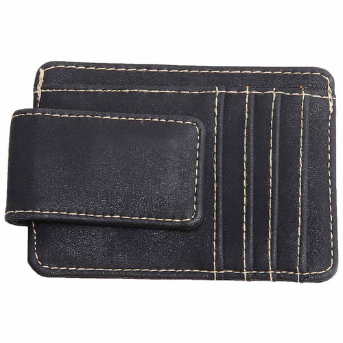 Black Money Clip With Card Slots And Bill Holder by Mad Man