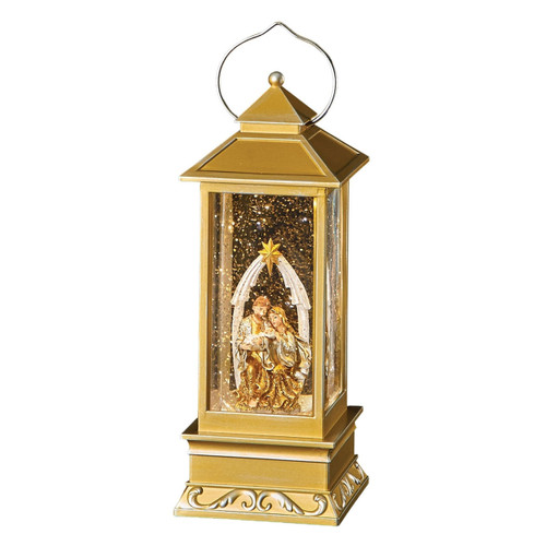 Lighted Swirl Lantern with Holy Family by Roman