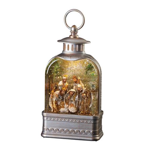 Lighted Swirl Lantern with Nativity Scene by Roman